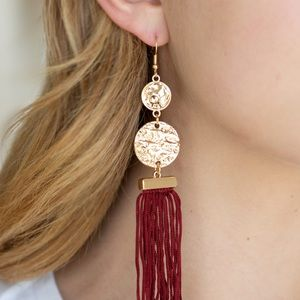 Gold with red tassel earrings